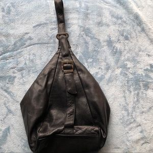 Perlina New York Black Leather Backpack Purse